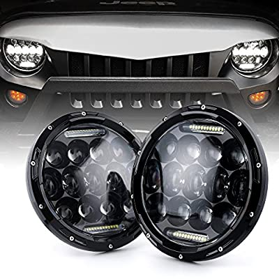"Xprite?DOT Approved?7"" Inch LED Headlights for Jeep Wrangler JK TJ LJ 1997 - 2017, 75W 9000Lumens Hi/Lo Beam with Halo Ring Angel Eyes DRL"