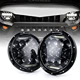 """Xprite(DOT Approved)7"""" Inch LED Headlights for Jeep Wrangler JK TJ LJ 1997-2018, 75W 9000Lumens Hi/Lo Beam with Halo Ring Angel Eyes DRL"""
