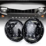 """Xprite(DOT Approved)7"""" Inch LED Headlights for Jeep Wrangler JK TJ LJ 1997 - 2017, 75W 9000Lumens Hi/Lo Beam with Halo Ring Angel Eyes DRL"""
