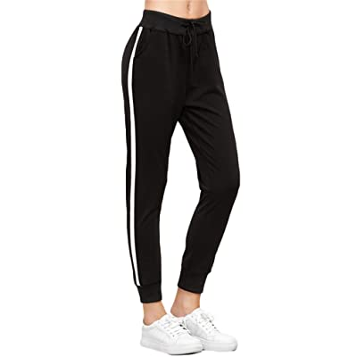 LALALAR Side Striped Drawstring Pants Casual Pants Trousers Women Black Sweatpants