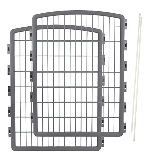 IRIS Exercise 2 Panel Add On Panel Pet Playpen with Door - 34 Inch, Gray -