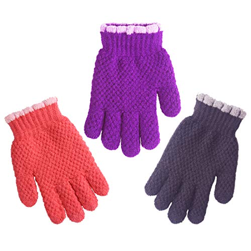 3 Pairs Toddler Baby Girl Warm Knit Winter Gloves With Furry Lining 345years