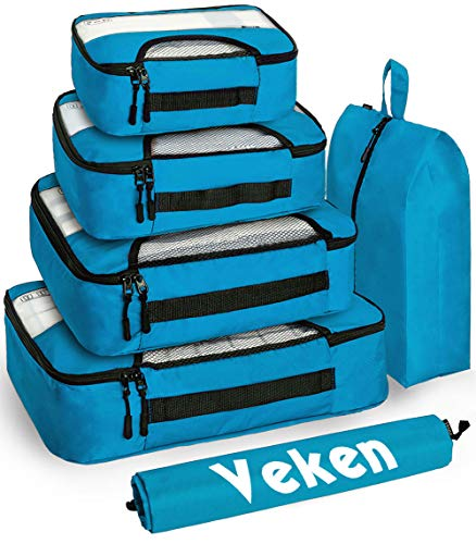 Veken 6 Set Packing Cubes, Travel Luggage Organizers with Laundry Bag & Shoe Bag (Blue)