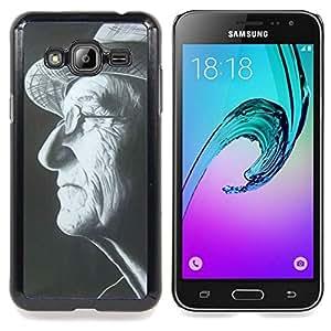 Stuss Case / Funda Carcasa protectora - Sombrero del hombre Gafas Negro Blanco Retrato - Samsung Galaxy J3 GSM-J300