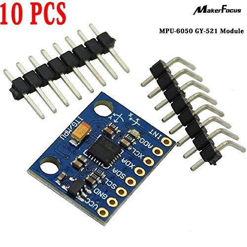 10pcs MPU-6050 GY-521 Module, 3 Axis Accelerometer Gyroscope Module, 6 DOF Sensor, 6 Axis Accelerometer Module, 16 Bit AD Converter Data Output IIC I2C
