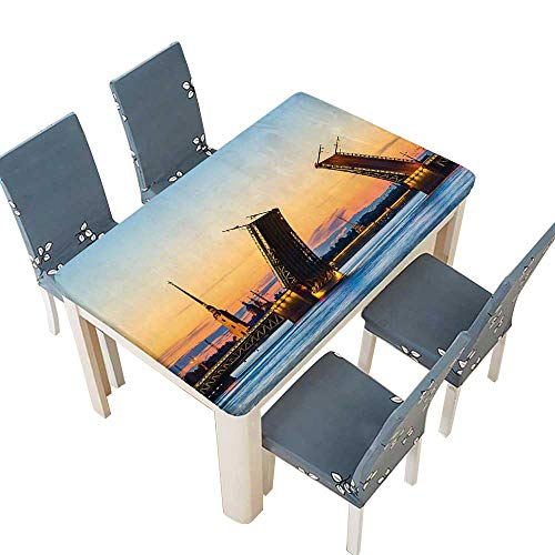 PINAFORE Polyester Fabric Tablecloth View of Palace Bridge with Peter and Paul Fortress St Petersburg White Nights Suitable for Home use W45 x L84.5 INCH (Elastic Edge) ()