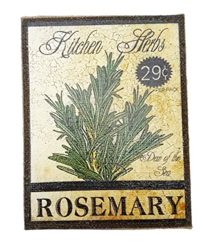 Rosemary Herb Seed Packet Print on Burlap Canvas 9.25