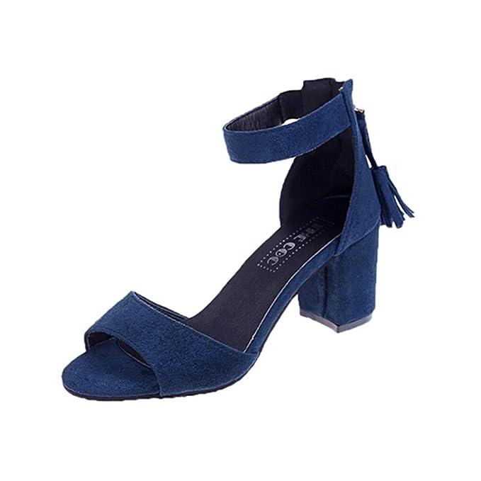 c079c5783a90d Zapatos de tacón Mujer ❤ABsoar Sandalias de Vestir Sandalias Gruesas de Las  Mujeres Sandalias con Cremallera Simple con Flecos para Mujer Zapatos Boca  de ...