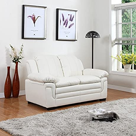 Divano Roma Classic Bonded Leather Sofa And Loveseat Living Room Furniture Color Black Brown And White Loveseat White