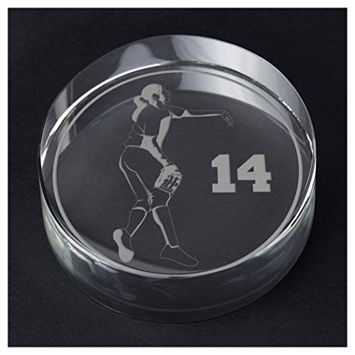 ChalkTalkSPORTS Softball Personalized Crystal Award and Gift | Pitcher Silhouette with Custom Number