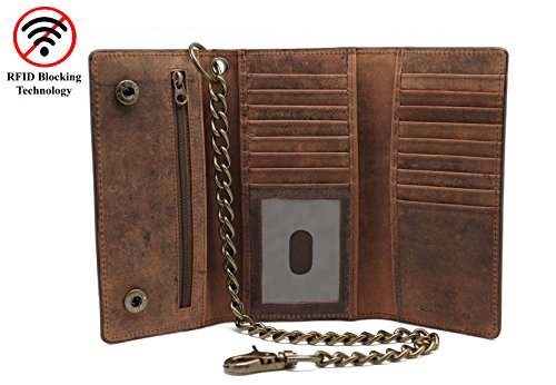 Men's Cow Leather Crazy Horse Brown Long Checkbook Trifold Stainless Bronze Chain Wallet R.F.I.D Signal Blocking Bikers - Tech City Pakistan