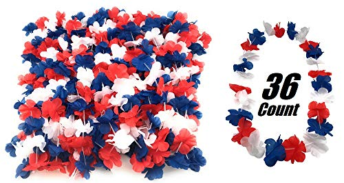 - 36 Pack Patriotic Leis Red White and Blue Party Leis for 4th of July, Picnic, Parade, Veterans day, Memorial Day, labor day, BBQ Parties