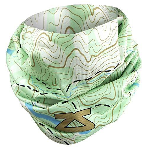 (Zensah Unisex Neck Gaiter - Multifunctional Headwear, UV Sun Guard, Face Mask, Neck Warmer, Headband, Balaclava (Topography - Green))