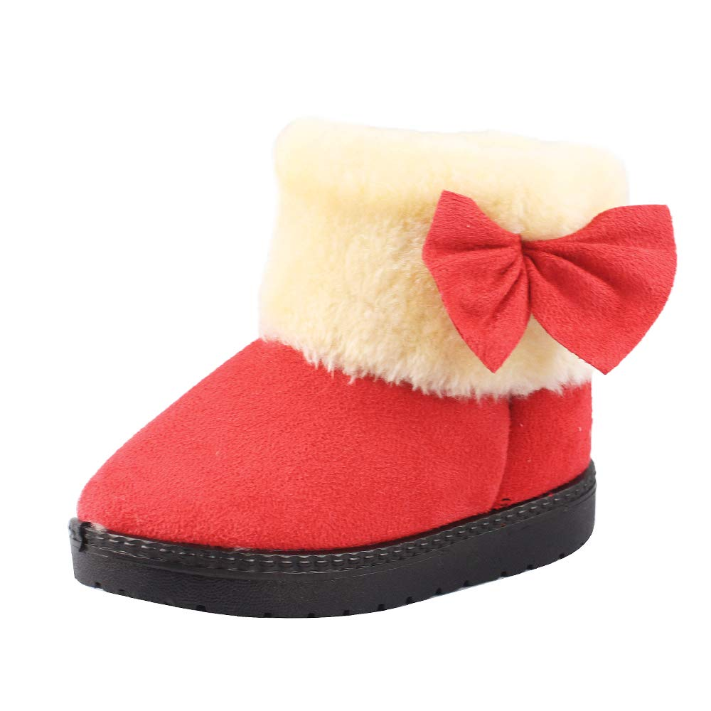 Toddler Snow Boots Girls Winter Warm Plush Bowknot Flat Kids Athletic & Outdoor Shoes for Toddler/Little Kid ESTAMICO