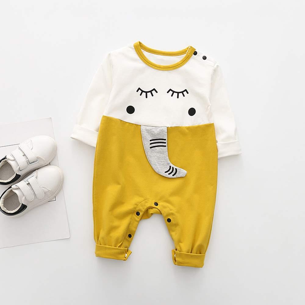SeClovers Newborn Elephant Print Romper-Unisex Baby Cute Jumpsuit,Bodysuit BY25