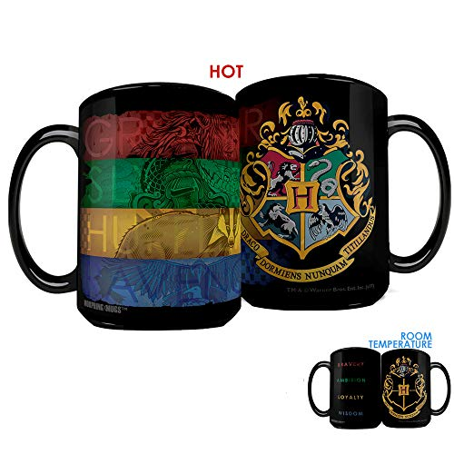 Morphing Mugs Harry Potter Hogwarts Crest with House Colors Heat Reveal Clue Ceramic Coffee Mug - 15 Ounces