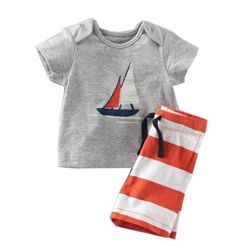 Costume Au Xviiie (Evelin LEE Baby Boy Short Sleeve T-shirts and Stripe Shorts 2pcs Set Clothes (18-24 months, Gray))