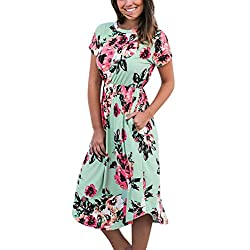 Long Dresses Foruu Womens Floral Printed Short Sleeve Round Neck Casual Beach Green