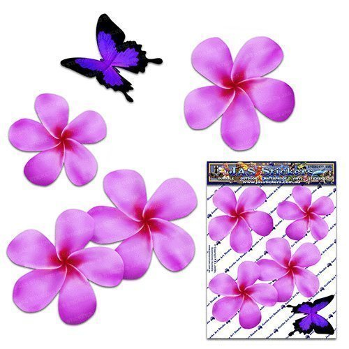 Pink Frangipani Plumeria Small Double FLOWER + BUTTERFLY Animal Pack Car Stickers - ST00024PK_SML - JAS Stickers