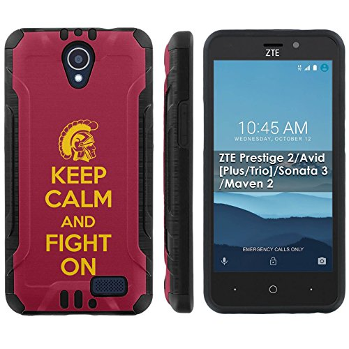[Mobiflare] ZTE Prestige 2/Avid [Plus/Trio]/Sonata 3/Maven 2 Shock Proof Cover [Black] Protective Phone Case - [Keep Calm and Fight On] for ZTE N9136 [5