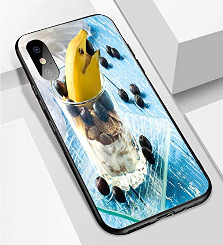 iPhone X/XS Ultra-Thin Phone case Creative Breakfast with Cereal Flakes Yogurt Blueberries and b Anti-Drop Anti-Slip Soft Convenient Protective Shell