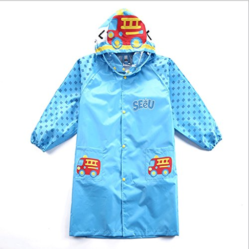 Hongyan Raincoats Raincoat Children's Padded Waterproof Poncho Boy Tasteless School Bag Bit Raincoat Girls Big Hat Cartoon Raincoat A+ (Color : Blue Bag, Size : XL)
