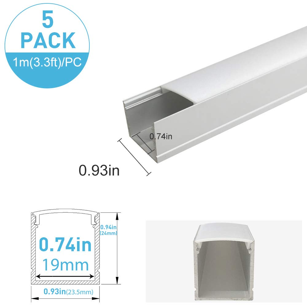 inShareplus U Shape LED Aluminum Channel System With Milk White Cover, End Caps and Mounting Clips, Aluminum Profile for LED Strip Light Installations, U06 Model, 5 Pack, 3.3ft/1 Meter, Silver