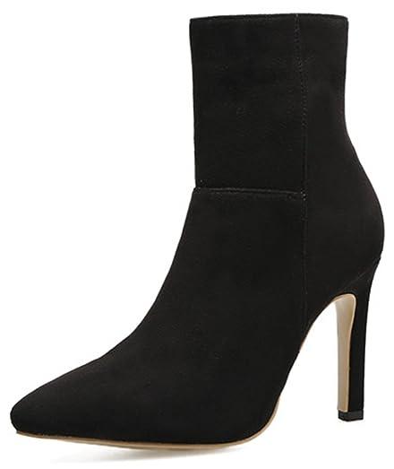 Women's Dressy Faux Suede High Stiletto Heel Pointed Toe Side Zipper Ankle Booties