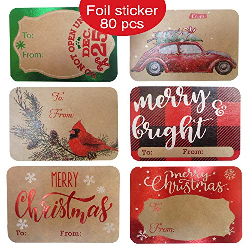 80-Count Foil Kraft Christmas Gift Tags Sticker- 8 Jumbo Designs – Xmas to from Christmas Stickers Name Tags Write On Labels – Holiday Present Labels