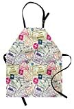 Travel Apron by Ambesonne, Passport and Visa Stamps Illustration of Toronto Hong Kong Berlin Print, Unisex Kitchen Bib Apron with Adjustable Neck for Cooking Baking Gardening, Egg Shell and Pink