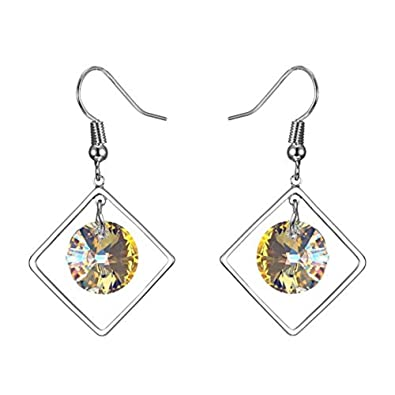 a140fdca3ea7c Amazon.com: EL8TION Circle Pendant In Square Dangle Earrings made ...