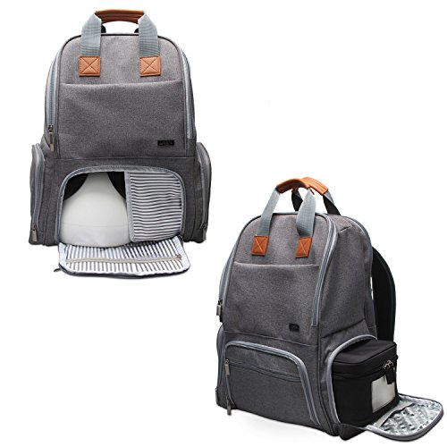 - Luxja Breast Pump Backpack with Pockets for Laptop and Cooler Bag, Pump Bag for Working Mothers (Fits Most Major Breast Pump), Gray