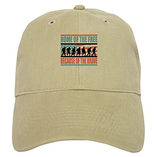 (CafePress Home of The Free Because of The Brave Baseball Cap with Adjustable Closure, Unique Printed Baseball Hat)