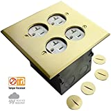 """ENERLITES Screw Cap Cover Floor Box kit, 5"""" x 5"""" 2-Gang Cover, 20A Tamper-Weather Resistant Receptacle Outlets, Watertight Gasket, Corrosive Resistant Hardware, UL Listed, 975510-C, Brass"""