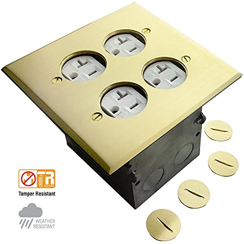 Enerlites 975510-C Floor Box Coin Open Assembly Kit Electrical Outlet Receptacle, 2 Gang 20A Tamper Weather Resistant Duplex Receptacle (Double Duplex Solid Brass)