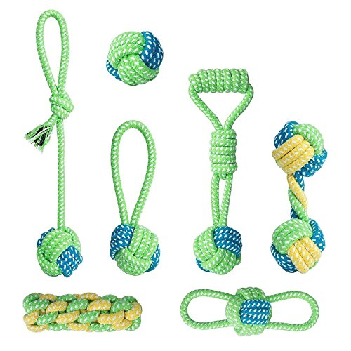 COOLA Durable Dog Toy Set Ball Chew Toys - 100% Natural Cott