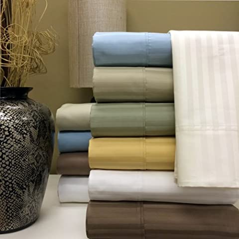 Royal's Stripe Sage 1000 Thread Count 4pc Queen Bed Sheet Set 100% Cotton, Sateen Stripe, Deep - Cotton Stripe Sage