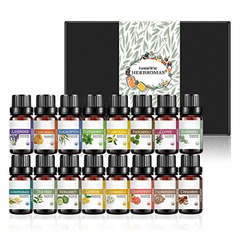 Essential Oil Set by Herbromas - Top 16 Natural Aromatherapy Essential Oils For Diffusers For Home Soap making Candle Fragrance Oils Lavender Peppermint Grapefruit Cinnamon Clove Chamomile Ylang Ylang