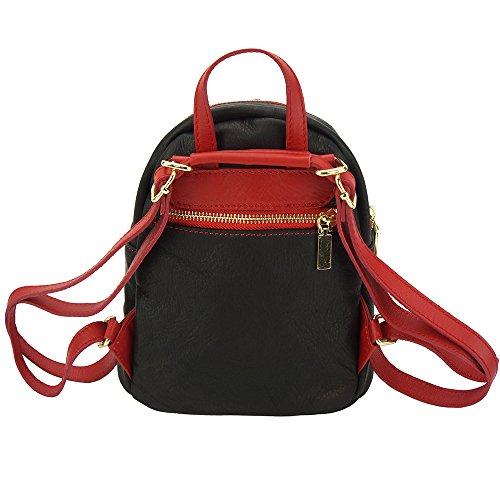 Mochila Lorella en piel de becerro - 9011 - Bolsos tipo mochila Negro-Rojo