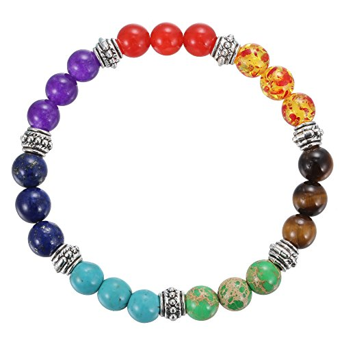 BRCbeads Gemstone Bracelets Rainbow Mix Color Rainbow Enhance Color Natural Birthstone Handmade Healing Power Crystal Beads Elastic Stretch 8mm 7.5 Inch with Gift Box Unisex (Gemstone Bracelet Rainbow)