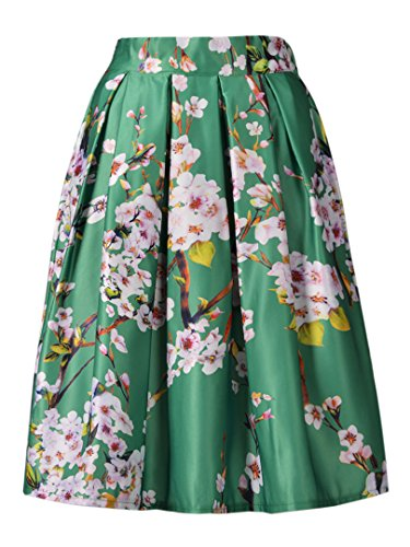 Choies Women's Green Sakura Skirts Vintage Pleated Flared Skater Midi Skirts l (Green Floral Skirt)