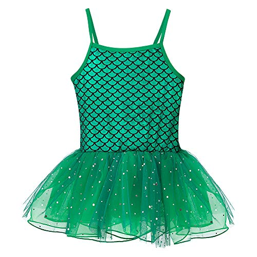 (Leotards for Girls Ballet Tank Tulle Dress Sequined Camisole Mermaid Costume (Green,)