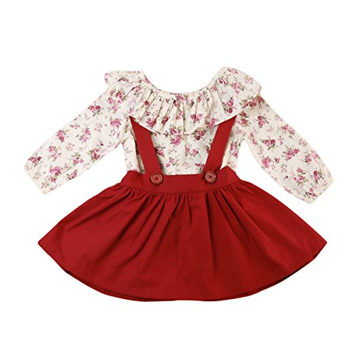 Baby Girl 2pcs Outfits Floral Long Sleeve Ruffled T-Shirt Top+Suspender Braces Skirt Overalls (4-5 Years, Red)