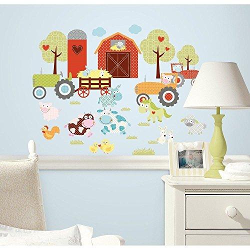 New HAPPI BARNYARD ANIMALS WALL DECALS Baby Nursery Kids Farm Bedroom (Farm Wall Stickers)