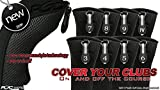 Black All Hybrid Headcover Set 3 4 5 6 7 8 9 Pw Golf Club Covers Head Cover Neoprene Mesh Complete