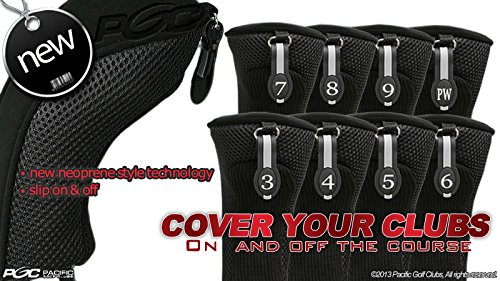 Black Hybrid Headcover (Black All Hybrid Headcover Set 3 4 5 6 7 8 9 Pw Golf Club Covers Head Cover Neoprene Mesh Complete)
