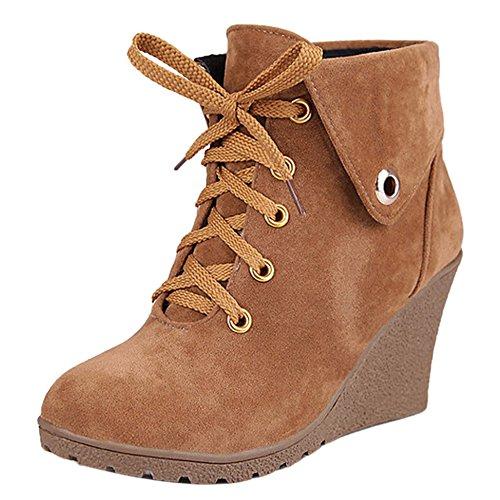 Mujer de Clasico Botas Cordones Zapatos Coolcept Brown Cuna FC1qwCv