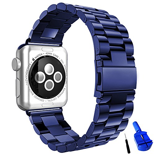 HUANLONG Compatible with Apple Watch Band, Solid Stainless Steel Metal Replacement Watchband Bracelet with Compatible with iWatch Series 1/2/3/4(Blue 42mm)