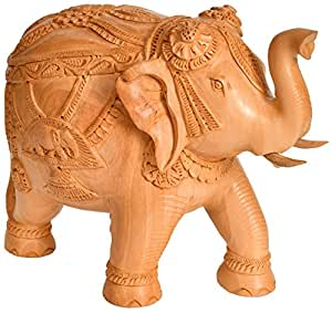 Wooden Decorated Elephant with Upraised Trunk - Wood Statue from Rajasthan