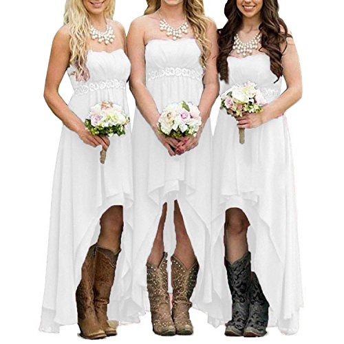 - EUMI Chiffon Bridesmaid Dresses High Low Strapless Country Bridal Wedding Party Gowns, White 12